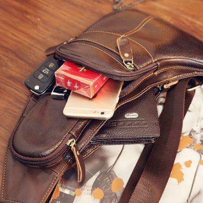 High Quality Men Genuine Leather Cowhide Vintage Sling Chest Back Day Pack Travel fashion Cross Body Messenger Shoulder Bag 4