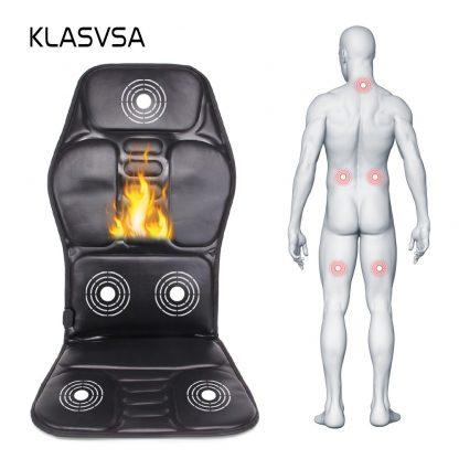 차량용 의자용KLASVSA Electric Back Massager Chair Cushion Vibrator Portable Home Car Office Neck Lumbar Waist Pain Relief Seat Pad Relax Mat 3
