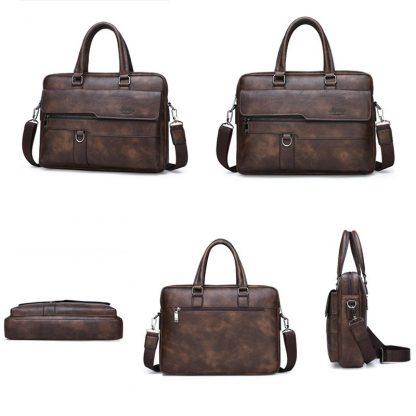 JEEP BULUO Men Briefcase Bag High Quality Business Famous Brand Leather Shoulder Messenger Bags Office Handbag 14 inch Laptop 3