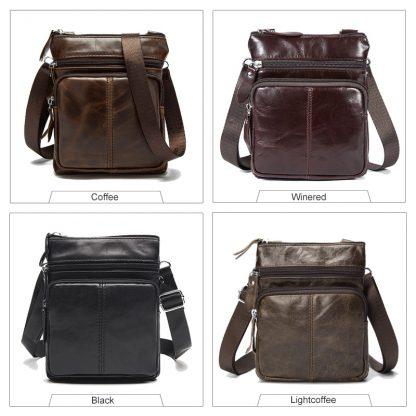 WESTAL Messenger Bag Men's Shoulder Genuine Leather bags Flap Small male man Crossbody bags for men natural Leather bag M701 2