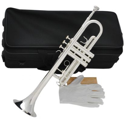 Top New Silver Plated  C Key Trumpet with Cupronickel Tuning pipe horn With Case 5