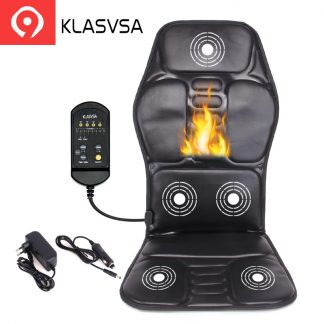 차량용 의자용KLASVSA Electric Back Massager Chair Cushion Vibrator Portable Home Car Office Neck Lumbar Waist Pain Relief Seat Pad Relax Mat