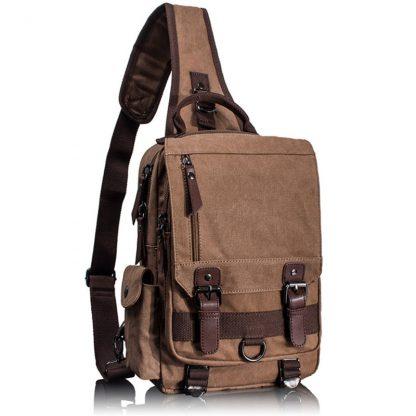 Tourya Canvas Crossbody Bags for Men Women Retro Leather Military Messenger Chest Bag Shoulder Sling Bag Large Capacity Handbag 5