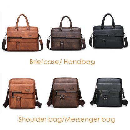 JEEP BULUO Men Briefcase Bag High Quality Business Famous Brand Leather Shoulder Messenger Bags Office Handbag 14 inch Laptop 1