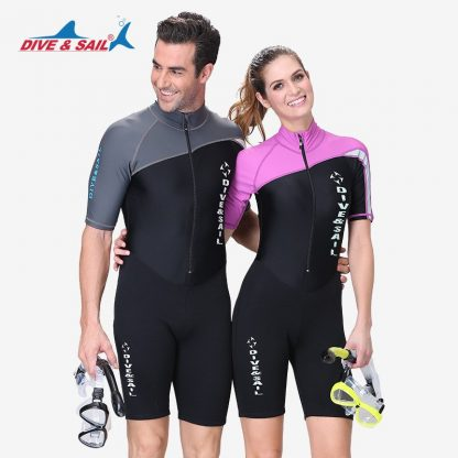 DIVE&SAIL 1.5MM Neoprene Wetsuit Men Women Long/Short Sleeve Trunk One Piece Wet Suits For Swimming Jumpsuit Surfing Rash Guards 5
