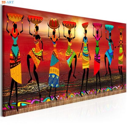 African Women Dancing Print Colored Poster Canvas Painting Tribal Wall Art Wall Pictures for Living Room Decoration