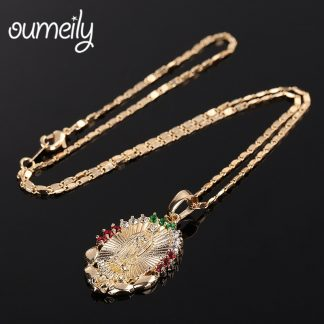 OUMEILY Oval Angle Virgin Mary Maria Statement Necklace Catholic Religious Jewelry Gold Color Men Women Engagement Party Jewelry