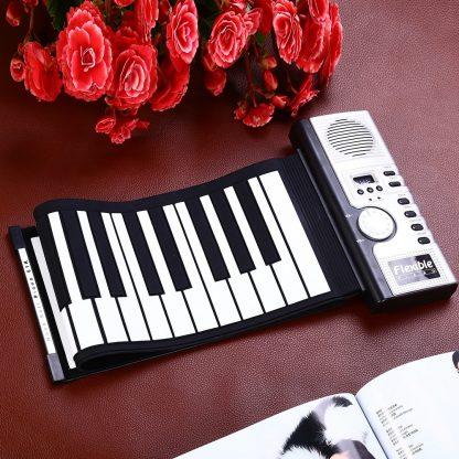 Portable Flexible 61 Keys Silicone MIDI Digital Roll-Up Keyboard Piano Foldable Diatonic Electronic Roll Up Piano 2