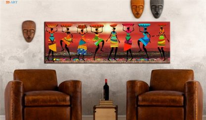 African Women Dancing Print Colored Poster Canvas Painting Tribal Wall Art Wall Pictures for Living Room Decoration 2