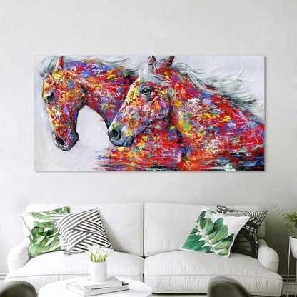 HDARTISAN Wall Art Picture Canvas Oil Painting Animal Print For Living Room Home Decor The Two Running Horse No Frame 4