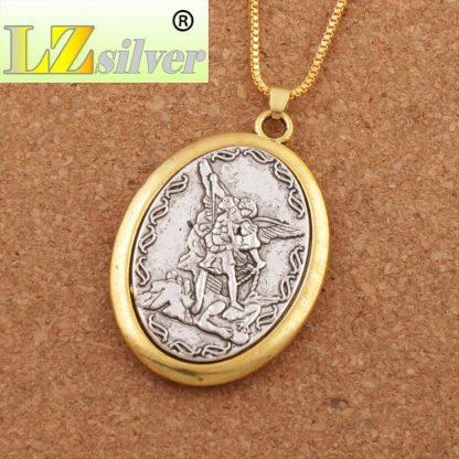 Catholic Patron Saint Pendant Michael St. Michael the Archangel 2inch Pendant Necklace 24 Chain N1779 10PCS  1