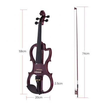 Hot sale ammoon VE-201 Full Size 4/4 Solid Wood Silent Electric Violin Fiddle Maple Body Ebony Fingerboard Pegs Chin Rest 1