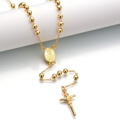 Gold Beads Rosary Blessed Goddess Pendant Necklace Hip Hop Golden Cross Jesus Necklace Christian Catholic Religious Jewelry