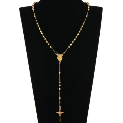 Gold Beads Rosary Blessed Goddess Pendant Necklace Hip Hop Golden Cross Jesus Necklace Christian Catholic Religious Jewelry 2
