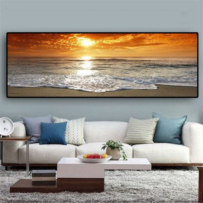 Sunsets Natural Sea Beach Landscape Posters and Prints Canvas Painting Panorama Scandinavian Wall Art Picture for Living  Room  1