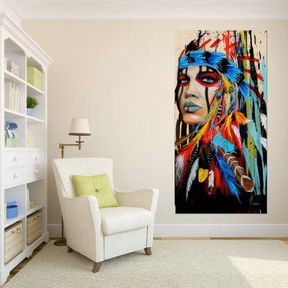 인테리어그림Modern Native American Indian Girl Feathered Canvas Painting For Living Room Wall Art Prints Home Decor free shipping Unframed 4