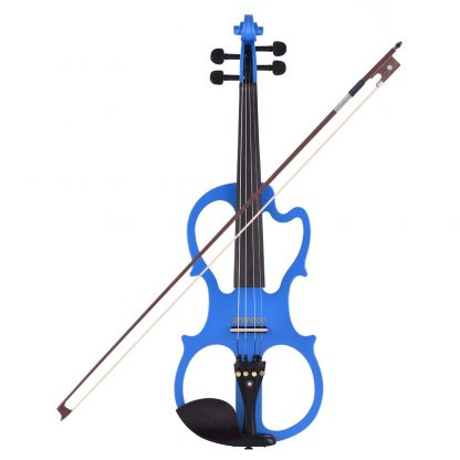 Hot sale ammoon VE-201 Full Size 4/4 Solid Wood Silent Electric Violin Fiddle Maple Body Ebony Fingerboard Pegs Chin Rest 3