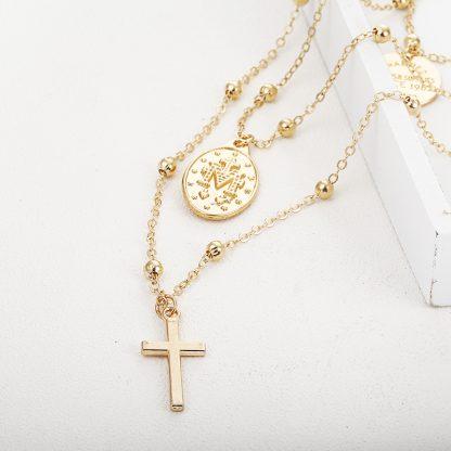 X86 Multilayer Cross Virgin Mary Pendant Beads Chain Christian Neckalce Goddess Catholic Choker Necklace Collier For Women 3