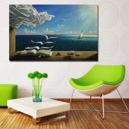 Salvador Dali Canvas Art Print Poster The Waves Book Sailboat Picture Canvas painting Diary of Discovery by Vladimir Kush 1