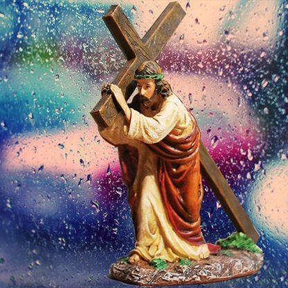 Resin Cross Crucifix Jesus Statue Figurine Christian Automobiles Decoration Furnishing Accessories Gift 4