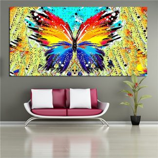 RELIABLI ART Big size Abstract Butterfly Animal Paintings Wall Art Canvas Painting For Girls Room,Living Room Cuadros Pictures