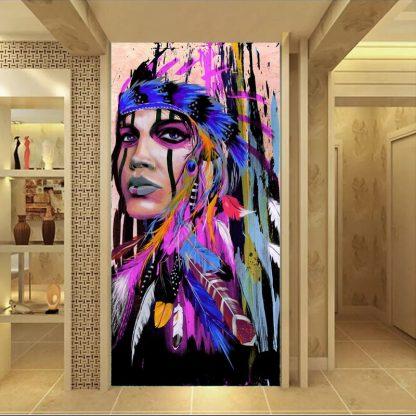 인테리어그림Modern Native American Indian Girl Feathered Canvas Painting For Living Room Wall Art Prints Home Decor free shipping Unframed 2