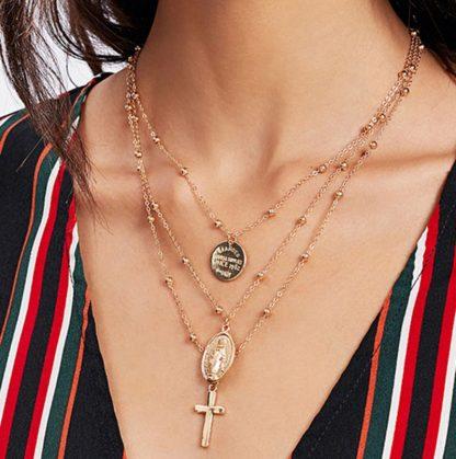 X86 Multilayer Cross Virgin Mary Pendant Beads Chain Christian Neckalce Goddess Catholic Choker Necklace Collier For Women