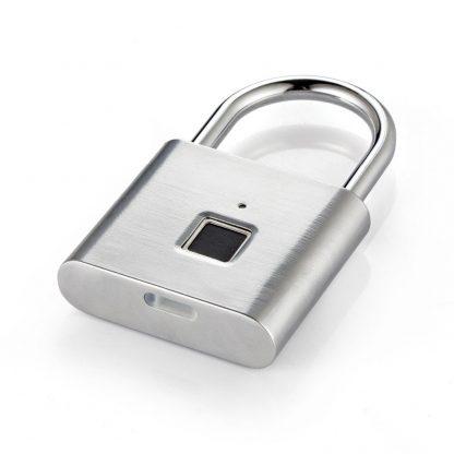 Golden security keyless smart USB rechargeable door fingerprint padlock quick unlock Zinc alloy metal self developing chip 1
