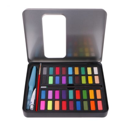 36 Colors Solid Watercolor Artist Paint Set Painting Box with Pens Paper And Bag Artist Art Supplies
