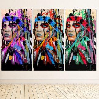 인테리어그림Modern Native American Indian Girl Feathered Canvas Painting For Living Room Wall Art Prints Home Decor free shipping Unframed