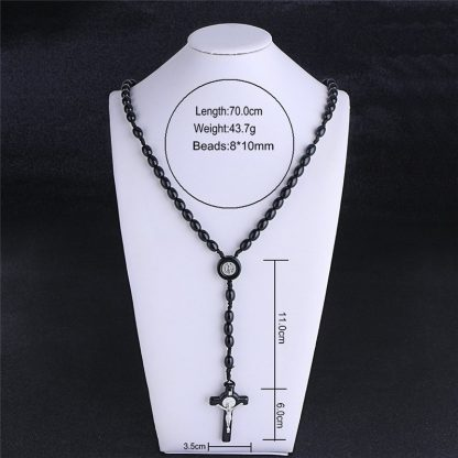 Komi Rosary Beads JESUS Coin Cross Pendant Necklace for Women Girls Catholic Religious Jewelry Holy Rosaries Necklaces 5