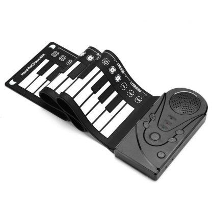 Unisex Flexible Keyboard Digital Educational Piano Kid's 75kg 49-Keys white 0 Roll-Up Black Music 4