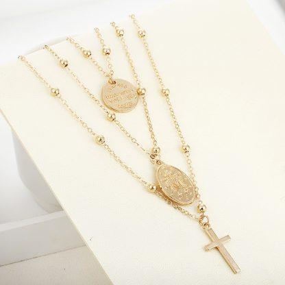 X86 Multilayer Cross Virgin Mary Pendant Beads Chain Christian Neckalce Goddess Catholic Choker Necklace Collier For Women 1