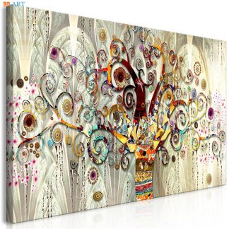 Vintage Poster Tree of Life Print Abstract Canvas Painting Gold Wall Art Pictures for Living Room Tribe Wall Decor