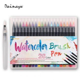 워터브러쉬20pcs Colors Brush Pen Sketch Drawing Watercolor Marker Set Calligraphy Pen For School Children Painting Manga Brush Stationery