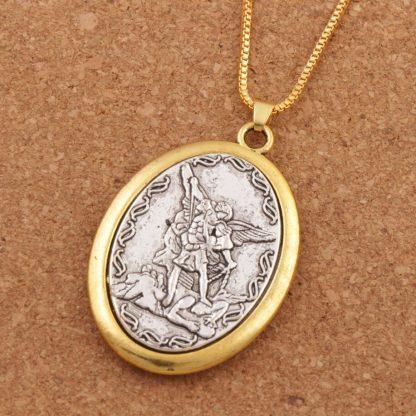 Catholic Patron Saint Pendant Michael St. Michael the Archangel 2inch Pendant Necklace 24 Chain N1779 10PCS
