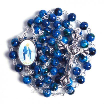 New Fashion Small Sized Round Blue Glass Beads Virgin Mary Catholic Rosary Necklace 5
