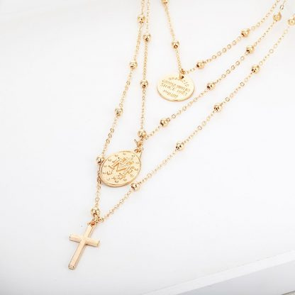 X86 Multilayer Cross Virgin Mary Pendant Beads Chain Christian Neckalce Goddess Catholic Choker Necklace Collier For Women 2