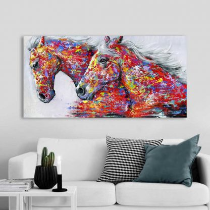 HDARTISAN Wall Art Picture Canvas Oil Painting Animal Print For Living Room Home Decor The Two Running Horse No Frame 3