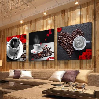 3 Panel Print Coffee Cup Vintage Canvas Painting Wall Pictures for Kitchen Coffee Shop Wall Decor Painting Canvas Prints