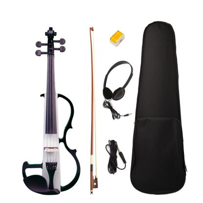 Full Size 4/4 Silent Electric Violin Solid Wood Maple With Bow Hard Case Headphone Cable Rosin New Set Black&White