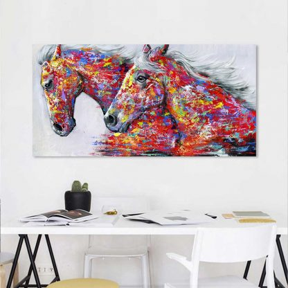 HDARTISAN Wall Art Picture Canvas Oil Painting Animal Print For Living Room Home Decor The Two Running Horse No Frame 1