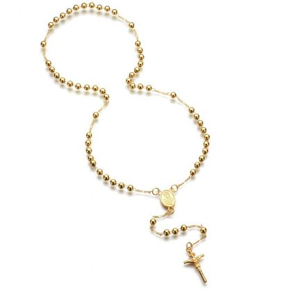 Gold Beads Rosary Blessed Goddess Pendant Necklace Hip Hop Golden Cross Jesus Necklace Christian Catholic Religious Jewelry 4