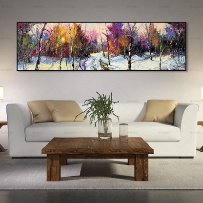 wall picture art landcape art print trees Posters picture wall art Painting decoration for living room no frame canvas painting 2