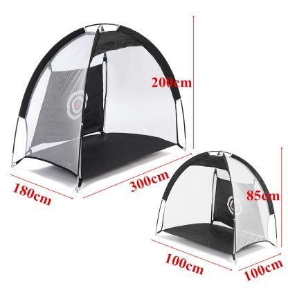 Golf Hitting Cage Practice Net Trainer Foldable 210D Encryption Oxford Cloth+Polyester Durable Sturdy Construction Black 2