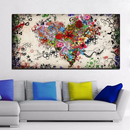 Hearts Flowers Painting Wall Art Canvas Painting For Living Room Modern Decorative Pictures Abstract Art Cuadros Decoration 1
