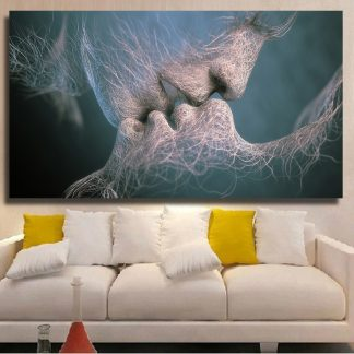 QKART Wall Pictures For Living Room Lover Kiss Oil Painting On Canvas Wall Art  Posters and Prints