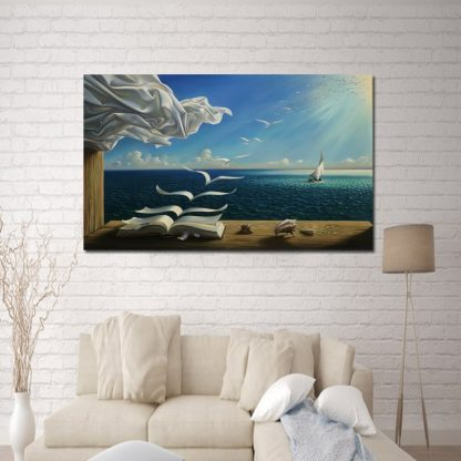Salvador Dali Canvas Art Print Poster The Waves Book Sailboat Picture Canvas painting Diary of Discovery by Vladimir Kush 2