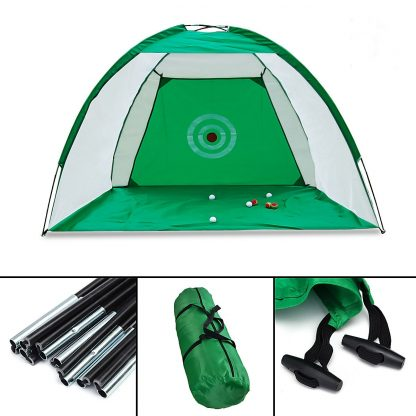 2x1.4m Foldable Golf Hitting Cage Practice Net Trainer+raining Aid Mat+Driver Iron Green Portable Durable Polyester+Oxford Cloth 2