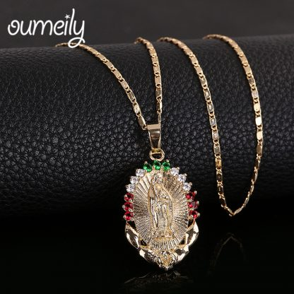 OUMEILY Oval Angle Virgin Mary Maria Statement Necklace Catholic Religious Jewelry Gold Color Men Women Engagement Party Jewelry 1